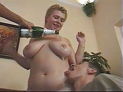 BBW Blonde Cumshot German Threesome