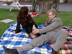 Babe Blowjob Old and Young Outdoor Stockings